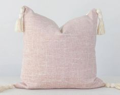 Blush Pillow Cover Light Pink Pillow Covers, Pink Texture Pillow Cover, Pink Tassel Pillow, Blush Pink Pillow Cover with Tassels Handmade Pillow Covers, 20x20 Pillow Covers, Handmade Pillows, Orange Pillow Covers, Orange Pillows, Blush Pillows, Throw Pillows, Pink Texture, Pillow Texture
