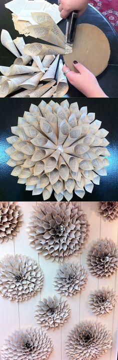 Dahlia Blossom DIY Old Book Crafts - Zukünftige Projekte - Origami Diy Old Books, Old Book Crafts, Newspaper Crafts, Diy With Books, Newspaper Flowers, Book Flowers, Craft Flowers, Diy Wand, Diy Wall Art