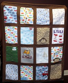 """I made this keepsake quilt for my grandson using his baby clothes.  (I only used clothes that we have pictures of him wearing, so he can see the quilt pieces on him as a baby.) It measures 42"""" x 50"""".  I even attached his socks from his first Christmas so that he has some little """"pockets"""" for his tiny treasures or for a tooth for the tooth fairy."""