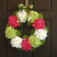 hydrangea wreath summer door wreath, wreaths for door wreaths floral gift, XL hydrangea wreath, front door decorations on Etsy, $69.00
