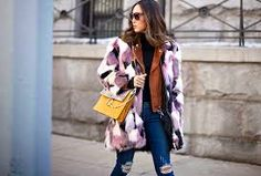 Image result for patchwork fur jacket outfit
