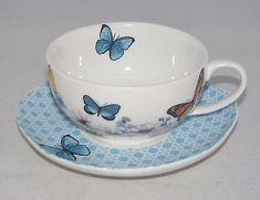 burton+Burton Porcelain Tea Cup & Saucer Gift Set BUTTERFLY
