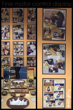 New display behind the Finger Gym area. Collages of children attempting a variety of finger gym activities.