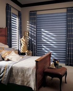 Classic blue and white, denim inspired bedroom decor with Pirouette® window shadings ♦ Hunter Douglas window treatments available through Georgia Blinds and Interiors Large Window Treatments, Window Coverings, Hunter Douglas, White Bedroom Decor, Bedroom Windows, Shades Blinds, Window Styles, Bed Styling, Fabric Shades