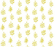 Sprigs Citron White fabric by jillbyers on Spoonflower - custom fabric Temporary yellow wallpaper