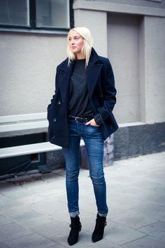 Ellen Claesson wearing Dagmar coat, Prada cashmere, Zara denim and IRO boots. Sep 15 2015