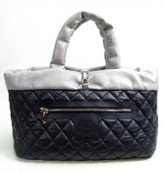 f7632758981f Chanel CHANEL Coco Cocoon Reversible Navy Silver Leather Tote Handbag  Shoulder Bag