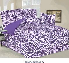7 Piece Queen Zebra Faux Fur Bedding Comforter Set Purple