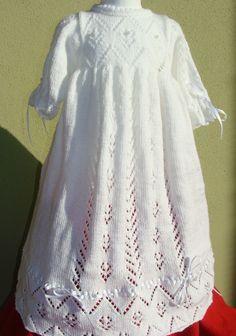 ROBE LONGUE, BONNET, CHALE BLANC BAPTEME 6/9 MOIS : Mode Bébé par danielainetricots