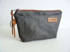 Hey, I found this really awesome Etsy listing at https://www.etsy.com/listing/167672561/handmade-gray-waxed-canvas-zip-pouch