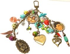 Unique One of a Kind Artisan Handcrafted Day of the Dead, Frida Kahlo Inspired Key Chain Charm Necklace. This Beautiful One of a Kind Mixed Metals Necklace is Fully Loaded with Tons of Unique Charms and Beads. Necklace #1 in My New Limited Edition 2013 Day of the Dead Jewelry Series. by MelancholyMind, $39.99