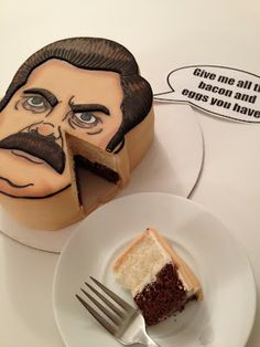 Eat Cake Be Merry: Ron Swanson Cake: Give me ALL the bacon and eggs you have.