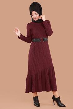 ** YENİ ÜRÜN ** Fırfırlı Tesettür Elbise Bordo Ürün kodu: AKT06 --> 54.90 TL