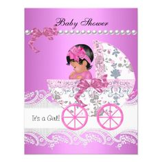 Pretty Baby Shower Cute Baby Girl Pink Vintage Personalized Announcements by zizzago.com