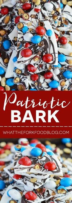 Super Easy Patriotic Bark with Peanut M&M's and white chocolate and dark chocolate are perfect for Memorial Day or 4th of July parties. From @whattheforkblog   Recipe sponsored by Mars M&M's  http://www.whattheforkfoodblog.com/2016/05/22/easy-patriotic-bark/