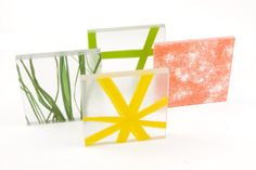 For the Sea Line collection, elements associated with water are encapsulated in Ecosense translucent panels. Designs such as Conche Pearl Summer, Green Algae, Green River, and Sunbeam and Tangerine use shell fragments, sand, and algae.