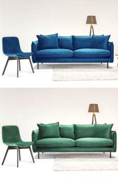 Moderný dizajn, štýl, elegancia, extravagantnosť. Chceli by ste mať vo vašej obývačke nejaký takýto mimoriadny kúsok? #sedacka #pohovka #sofa #obyvacka #smaragdova #parizskamodra #modernydizajn #dizajn #styl #luxus #byvanie #nabytok Couch, Furniture, Home Decor, Elegant, Luxury, Settee, Decoration Home, Sofa, Room Decor