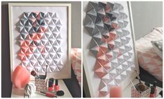 Jasmine Station - origami et jolis papiers: Cadre Origami en modules Sonobe Origami 3d, Origami Wall Art, Origami Mouse, Origami Star Box, Origami And Quilling, Origami Fish, Origami Design, Origami Paper, Diy Paper