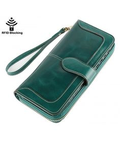 Buy Women's RFID Blocking Genuine Leather Wallet Ladies Zipper Wristlet Clutch - Green - and More Fashion Bags at Affordable Prices. Handmade Leather Wallet, Leather Gifts, Simple Wallet, Women's Wristlets, Minimalist Leather Wallet, Rfid Wallet, Wallets For Women Leather, Wallet Pattern, Yellow Leather