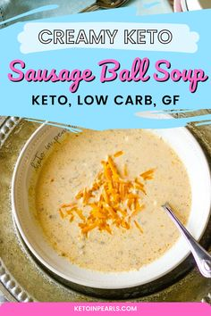 If sausage balls and potato soup got married, this would be their love child. This creamy keto sausage soup tastes just like your favorite sausage ball in soup form. Crumbled sausage, cheese, cauliflower, and cream come together for a bowl of comfort that's perfect for breakfast, lunch, or dinner. #ketorecipes #dinnerecipes #lowcarbdinner #glutenfreedinner Sausage Balls, Sausage Soup, Low Carb Soup Recipes, Keto Recipes, Healthy Recipes, Sugar Free Peanut Butter Cookies, Cinnamon Sugar Muffins, Gluten Free Dinner, Keto Dinner