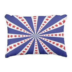 Patriotic Red White and Blue Burst Outdoor Pillow Outdoor Throw Pillows, Decorative Throw Pillows, Red And White, Flag, Art, Art Background, Accent Pillows, Kunst, Science