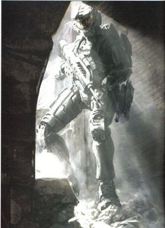 I can imagine this being a scene where a squad of marines was pinned down by Covenant for hours on end, and then they start hearing rubble moving and shifting.and then the Master Chief steps in to save them :) Halo Game, Halo 3, Master Chief Costume, Halo Armor, Halo Spartan, Halo Master Chief, Future Soldier, Red Vs Blue, Super Soldier