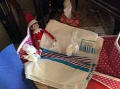 Suzy is sick (of being touched!).  Elf on the shelf.