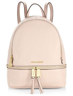 rhea zip mini backpack by MICHAEL Michael Kors. The classic backpack is redefined in texture-rich leather, finished with polished zippers. Sac Michael Kors, Handbags Michael Kors, Purses And Handbags, Backpack Straps, Mini Backpack, Backpack Bags, Cute Backpacks, Leather Backpacks, School Backpacks