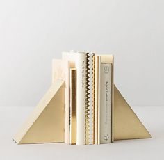Add a touch of gold with geometric bookends.