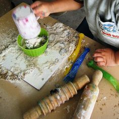 let the children play: don't bin your old playdough.  Give children flour, sand, bowls and  kitchen utensils - when they're done - then throw out the old playdough
