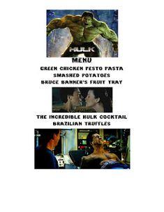 The Incredible Hulk Dinner Menu