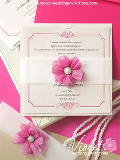 beautiful ivory and rose pink boxed wedding invitation from our