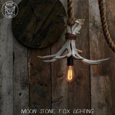 Antler Chandelier  Antler Pendant Light  Rope by MoonStoneFox