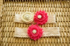 Ivory and Pink Wedding Garter Set Bridal by ThePinkBunnyWeddings, $18.99