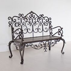 Wrought Iron Bench - Black
