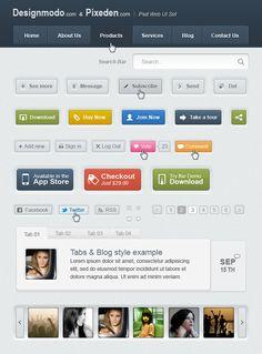 Free Web UI Elements Kit (PSD, HTML, CSS, jQuery)    Source: http://designmodo.com/free-psd-web-ui-elements-kit-set/#ixzz1p5GwUXRo