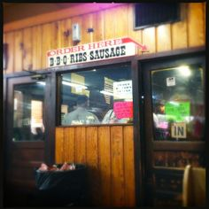 The smokehouse at City Market in Luling, Texas. Food is served on butcher paper, not plates. Darn good barbeque.