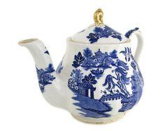 Sadler Ribbed Blue Willow China Teapot Gold Trim by WhatnotGems