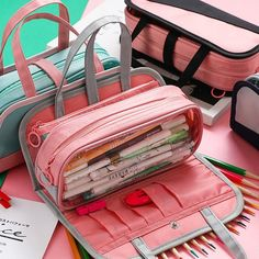 INS HOT Multifunctional Pencil bag Waterproof oxford Detachable Pen bag For School pencil Case Cosmetic case etui wash bag