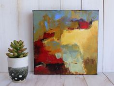 "MODERN ABSTRACT Painting ORIGINAL Art ""Precipice"" Acrylic on 10"" x 10"" wrap…"