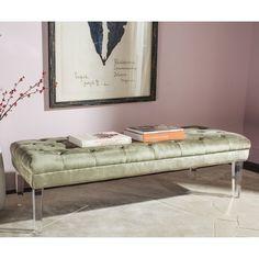anya velvet nailhead button tufted acrylic leg bench by inspire q