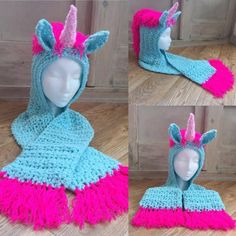 Amazing Unicorn Crochet Hat Scarf Pattern