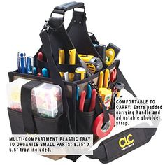 HVAC Tool Bags are always the solid tool bags and have multiple pockets to store many things. So let's get to see best HVAC tool bag or backpack. Hvac Tool Bags, Hvac Tools, Tool Backpack, Tool Pouch, Hand Tools List, Man Purse, Backpack Reviews, Plastic Trays, Electrical Tape