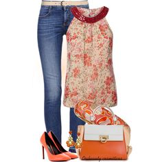 """Denim & Orange"" by oribeauty-cosmeticos on Polyvore"