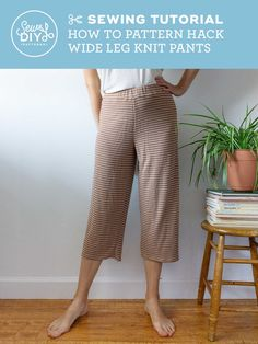 DIY Wide Leg Knit Pants - Summer Sweatsuit pattern hack Knit Pants, Knit Shorts, La Fashion District, Fashion Joggers, Sewing Tutorials, Sewing Patterns, Top Pattern, Racerback Tank Top, Wide Leg Pants