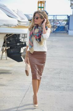 leather pencil skirt   cute scarf