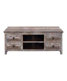 Loving this Brown & Blue Distressed Media Stand on #zulily! #zulilyfinds