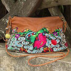 Leather accent shoulder bag, 'Mandarin Sea' - Embroidered Floral Shoulder Bag with Leather Trim (image 2)