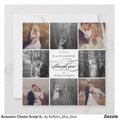 Shop Romantic Classic Script 8 Multi Photo Chic Wedding Thank You Card created by fatfatin_blue_knot. Personalize it with photos & text or purchase as is! Thank You Card Size, Photo Thank You Cards, Thank You Photos, Thank You Card Template, Custom Thank You Cards, Thank You Note Cards, Photo Collage Design, Photo Collage Template, Calligraphy Thank You
