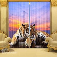 Lifelike 3D Crouching Tiger Tree Blackout Curtain